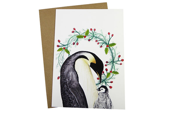 Penguin with Chick Baby & Holly Wreath - Luxury 350gsm Christmas Card