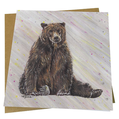 Grizzly Brown Bear Blank Greetings Card - Supports Conservation Charity