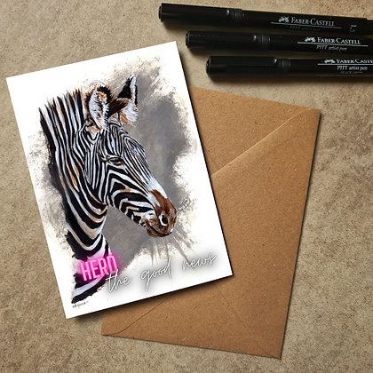Zebra Blank Greetings Good News Card - Supports Conservation Charity