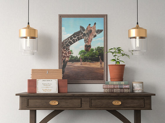 Giraffe Painting  A3 Lithographic Print
