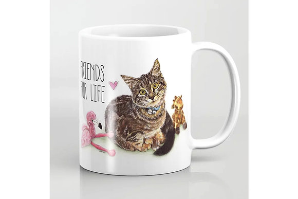 Cat Mug - Friends Fur Life - Friends for life, for best friends, crazy cat lovers, crazy cat lady, crazy cat man