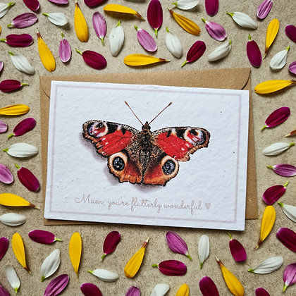Plantable Collection Mother's Day Peacock Butterfly Card - No Waste Eco-friendly