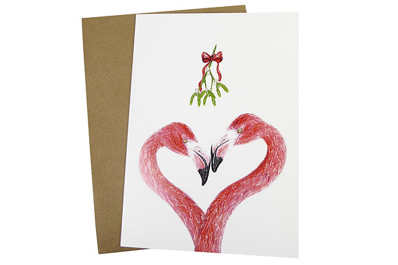 Two Flamingos with Mistletoe - Luxury 350gsm Christmas Card