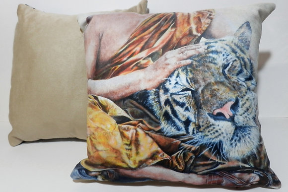 Tiger with Buddhist Monk Painting in Colour on Faux Suede Cushions