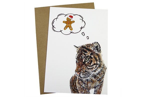 Tiger & Gingerbread Man - Luxury 350gsm Christmas Card