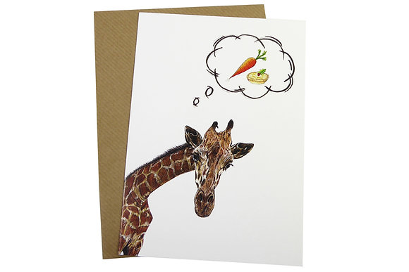 Giraffe with Carrot & Mince Pie - Luxury 350gsm Christmas Card