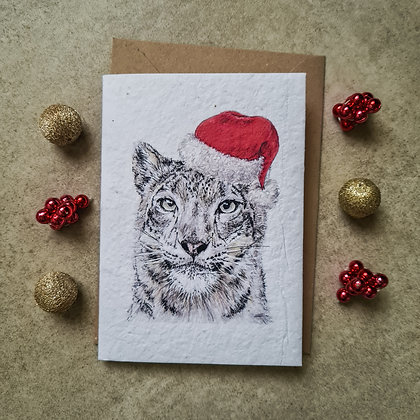 Plantable Collection Christmas Snow Leopard Card - No Waste Eco-friendly Card