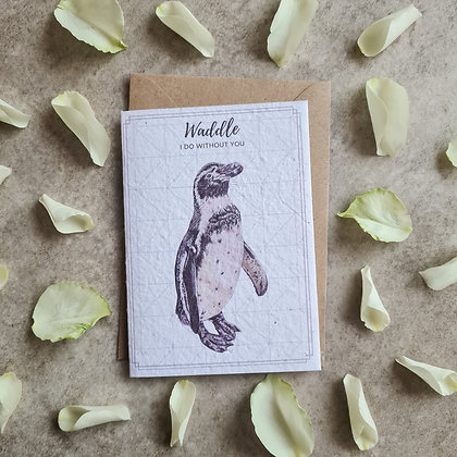 Plantable Collection Penguin Card - No Waste Eco-friendly