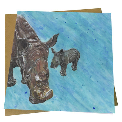 White Rhino & Baby Blank Greetings Card - Supports Conservation Charity