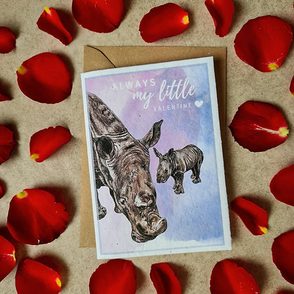Plantable Collection Rhino Little One's Valentine's Card - No Waste Eco-friendly