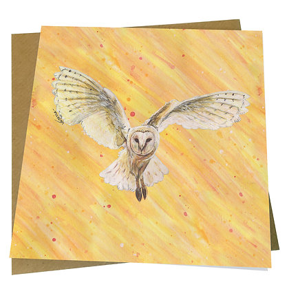 Barn Owl Blank Greetings Card - Supports Conservation Charity