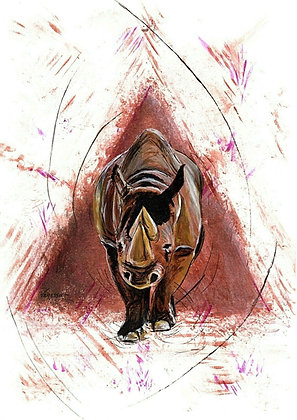 Wild Rhinoceros Original A4 Painting
