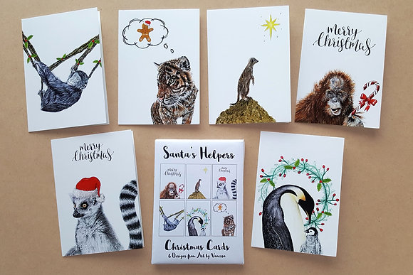 SANTA'S HELPERS Set of 6 Christmas Cards