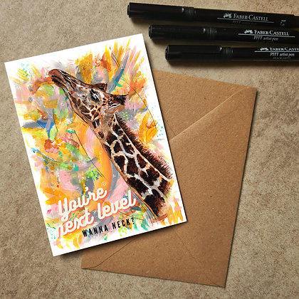 Giraffe Blank Greetings Funny Card - Supports Conservation Charity