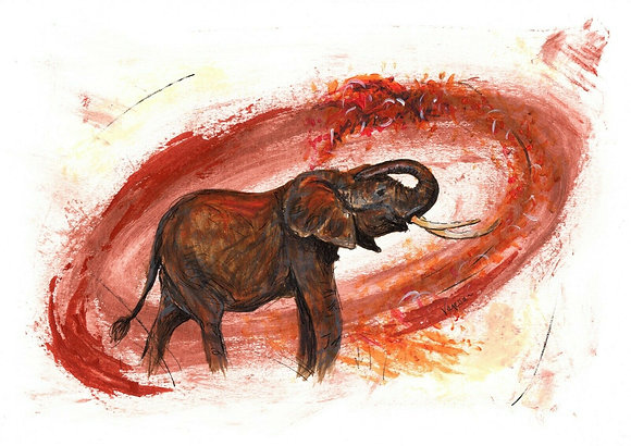 African Elephant Original A4 Painting
