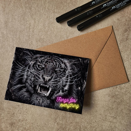 Tiger Blank Greetings Thank You Card - Supports Conservation Charity