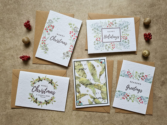 PACK OF 5 Plantable Collection Christmas Cards - No Waste Eco-friendly Cards