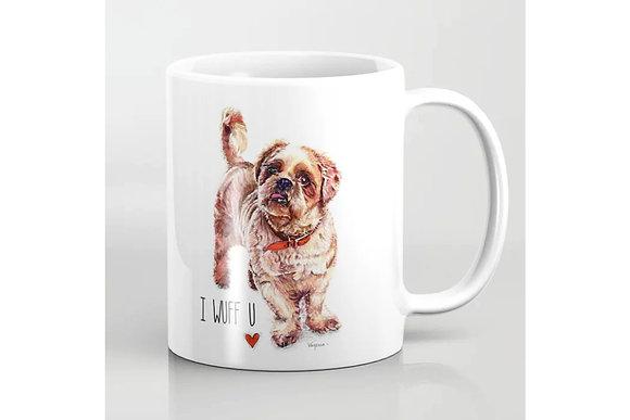 Dog Mug - I Wuff U - I love you for best friends, dog lovers, crazy dog lady or man