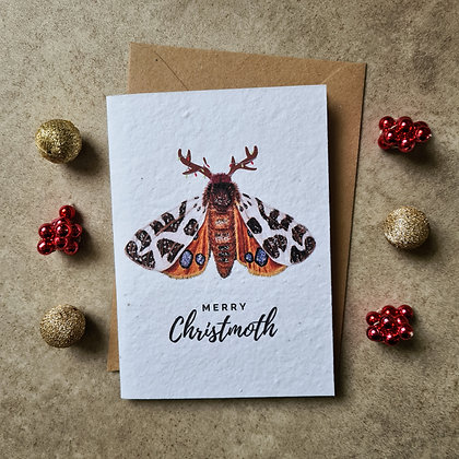"Plantable Collection Tiger Moth ""Merry Christmoth"" Card - No Waste Eco-friendly"