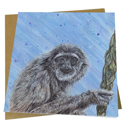 Silvery Gibbon Blank Greetings Card - Supports Conservation Charity