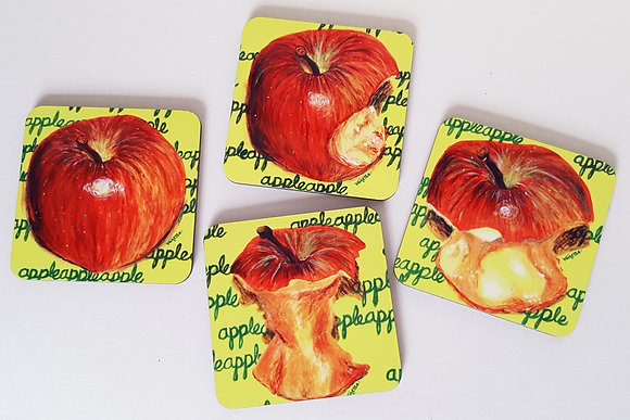 "Set of 4 Coasters ""An Apple a Day"""