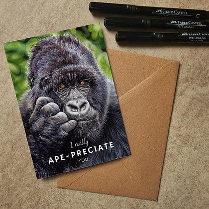 Gorilla Blank Greetings Appreciate You Card - Supports Conservation Charity