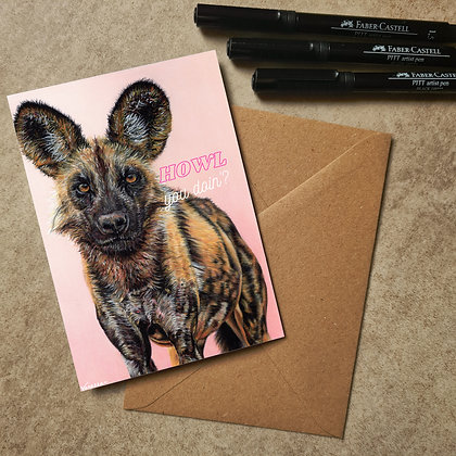 Painted Dog Blank Greetings Funny Card - Supports Conservation Charity