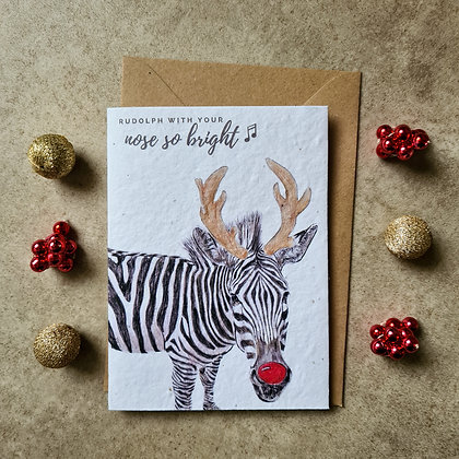 "Plantable Collection Rudolph Zebra ""Nose So Bright"" Card - No Waste Eco-friendly"