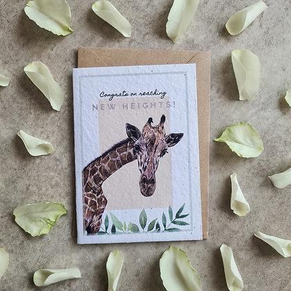 Plantable Collection Giraffe Congrats Card - No Waste Eco-friendly