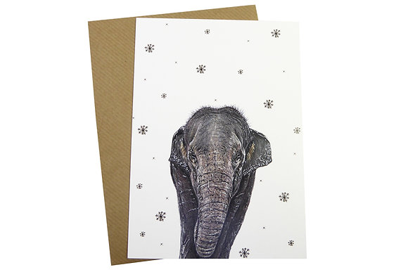 Elephant with Snowflakes - Luxury 350gsm Christmas Card