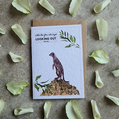 Plantable Collection Meerkat Thank You Support Card - No Waste Eco-friendly