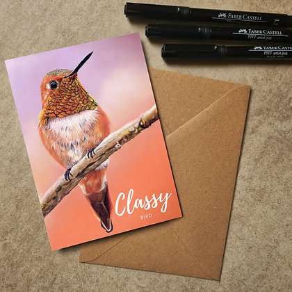 Hummingbird Blank Greetings Classy Bird Card - Supports Conservation Charity