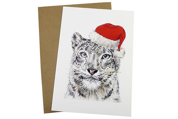 Snow Leopard with Santa Christmas Hat - Luxury 350gsm Christmas Card