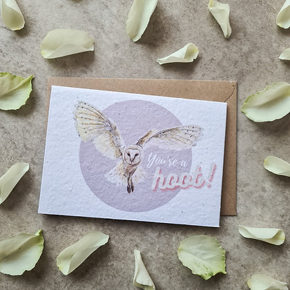 "Plantable Collection Barn Owl ""You're a Hoot!"" Card - No Waste Eco-friendly"