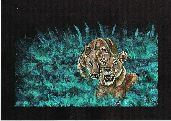 Lionesses Original A4 Painting