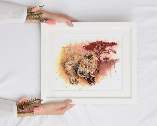 Sleeping Baby Lion Cub A4 Lithographic Print