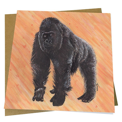 Silverback Gorilla Blank Greetings Card - Supports Conservation Charity