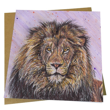 African Lion Blank Greetings Card - Supports Conservation Charity