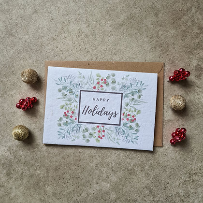 Plantable Collection Happy Holidays Christmas Card - No Waste Eco-friendly Card
