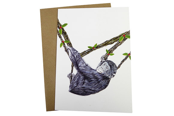 Baby Bonobo Chimp with Holly Vines - Luxury 350gsm Christmas Card