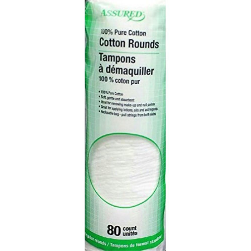 Assured Cotton Rounds, 80-Count
