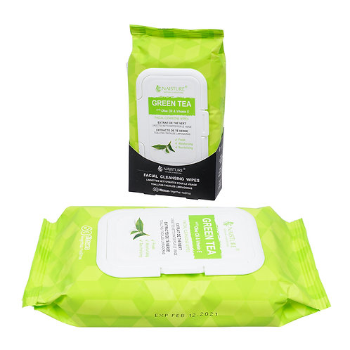 Naisture Green Tea Facial Cleansing Wipes (60 count)