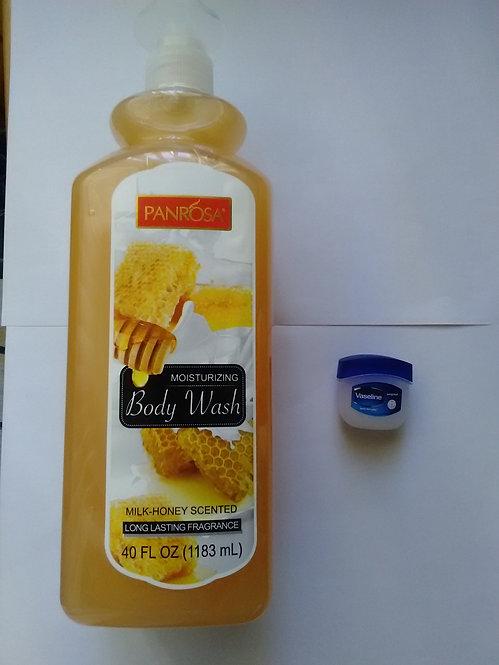 Panrosa Moisturizing Body Wash- Milk and Honey- 40 fl. oz- + Free Bonus!*
