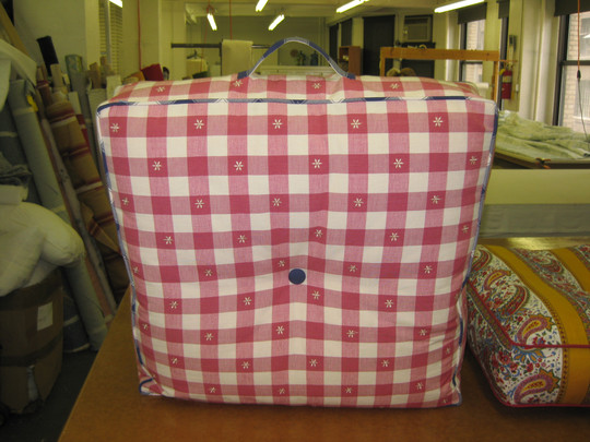 Large Cushion with Button in Center and Contrast Welting