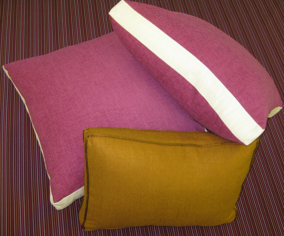 """Boxed Throw Pillows with 2"""" Contrast Banding"""