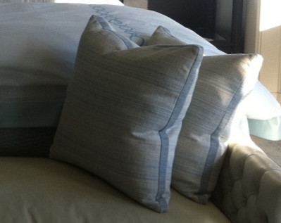 Boxed Throw Pillows with Contrast Banding