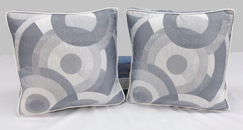 Boxed Throw Pillows with Contrast Banding and Contrast Welting