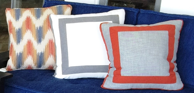 Outdoor Boxed Throw Pillows with Inset on Face and Contrast Banding