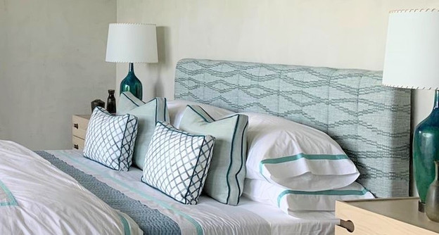Boxed Bed Pillows with Contrast Welting