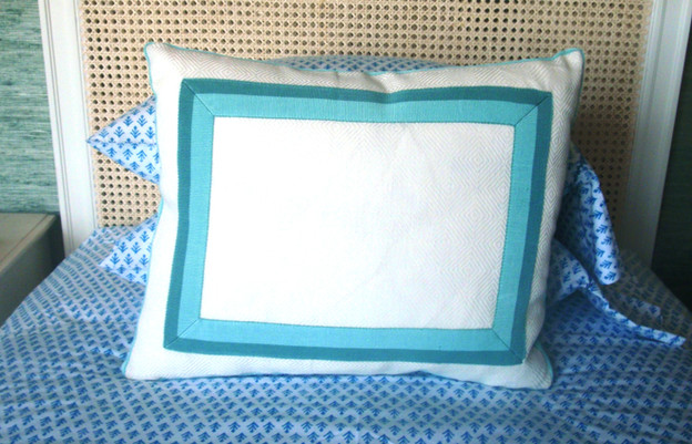 Boxed Throw Pillows with Inset on Face and Contrast Banding